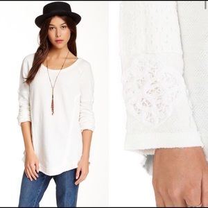 FREE PEOPLE You Don't Own Me embroidered cuffs top